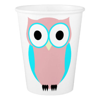 Cute Owl Pink And Blue Paper Cup