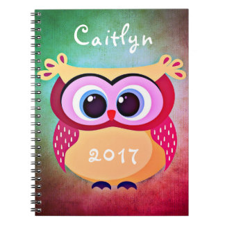 Cute Owl Pink Eyes Name Date Notebook