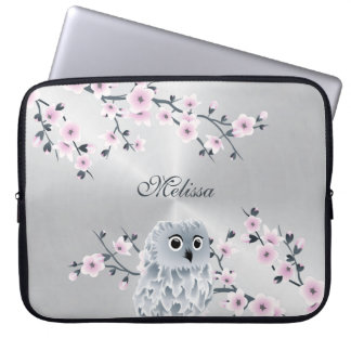 Cute Owl Pink Silver Monogram Laptop Sleeve