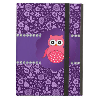 Cute owl purple flowers iPad air cover
