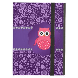 Cute owl purple flowers iPad air covers