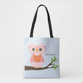 Cute Owl Reading Tote Bag