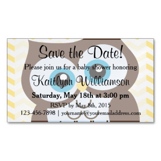 Cute Owl Save the Date Baby Shower Magnetic Card