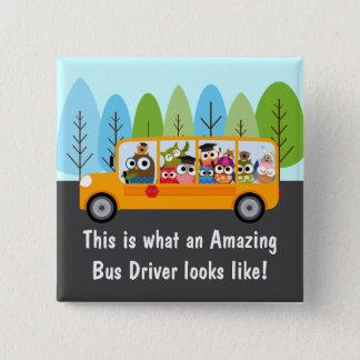 Cute Owl School Bus Driver 2 Inch Square Button