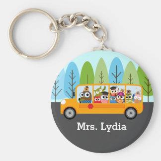 Cute Owl School Bus Driver Basic Round Button Keychain