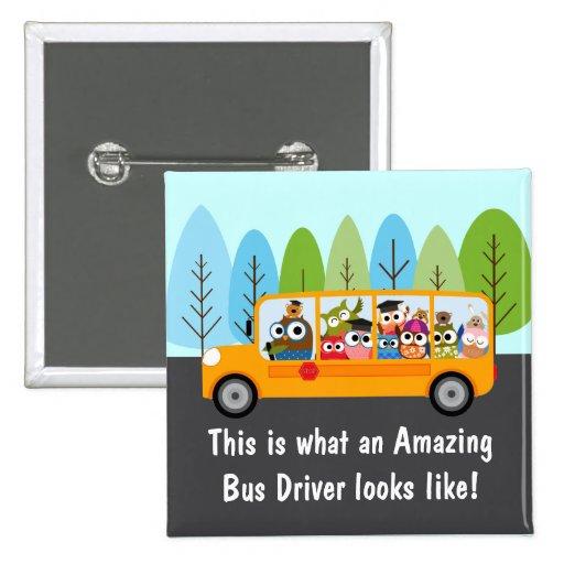 Cute Owl School Bus Driver Pin