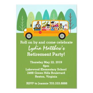 "Cute Owl School Bus Driver Retirement Party 4.5"" X 6.25"" Invitation Card"