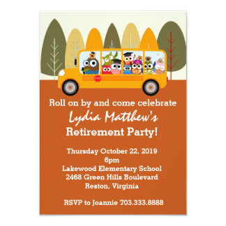 "Cute Owl School Bus Driver Retirement Party 4.5"" X 6.25"" Invitation Card"