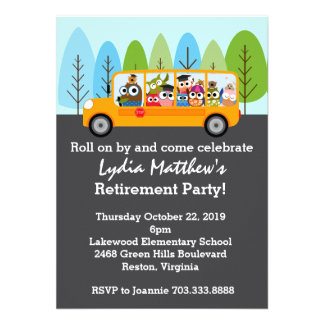 Cute Owl School Bus Driver Retirement Party Personalized Invitation