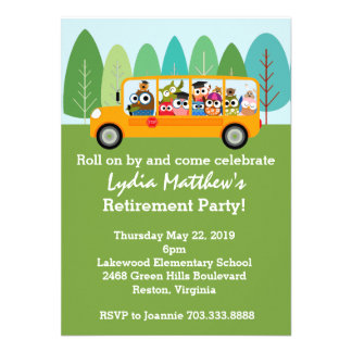 Cute Owl School Bus Driver Retirement Party Invite