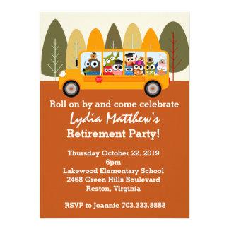 Cute Owl School Bus Driver Retirement Party Invitations