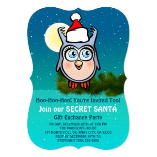 Cute Owl Secret Santa Party Card