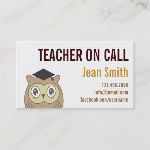 Simple math business cards business card printing zazzle ca cute owl teacher on call business card reheart Gallery
