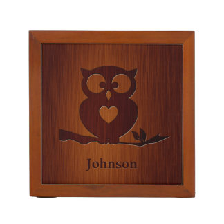 Cute Owl Tree with Custom Name & in Rosewood Look Desk Organizer
