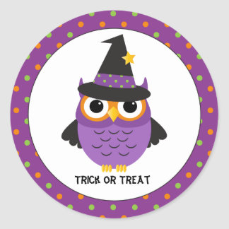 Cute Owl Trick or Treat Halloween Stickers