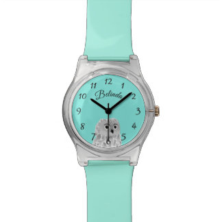 Cute Owl Turquoise Numbers Monogram Watch