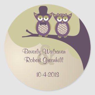 Cute Owl Wedding Stickers