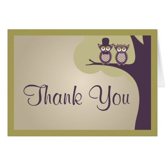 Cute Owl Wedding Thank You Cards