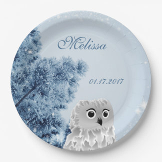 Cute Owl Winter Kids Birthday Party 9 Inch Paper Plate