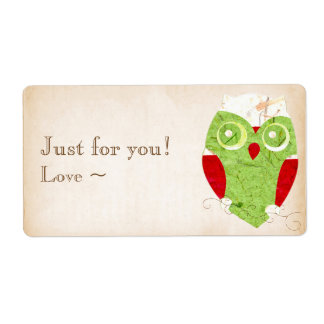 Cute Owl Winter Red and Christmas Green Collage Shipping Label