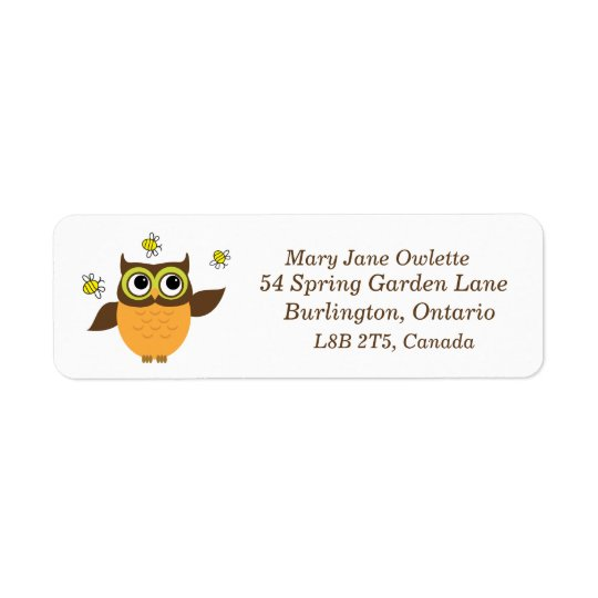 Cute Owl With Bees Address Labels