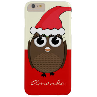 Cute Owl with Christmas Cap - Red Barely There iPhone 6 Plus Case