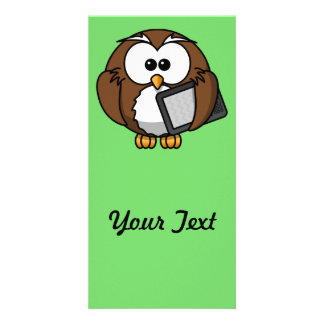 Cute Owl with Ereader Tablet with Green Background Photo Card Template