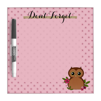 Cute Owl with Flower Pattern Dry Erase Board