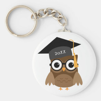 Cute Owl with Glasses Custom Class of Graduation Basic Round Button Keychain