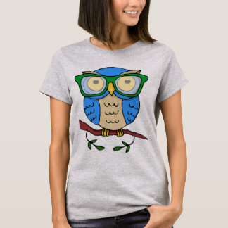 Cute Owl with Green Glasses T-Shirt