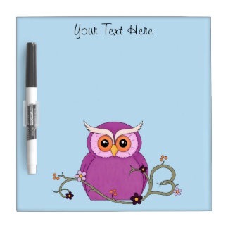 Cute Owl with Heart Vine Dry Erase Board
