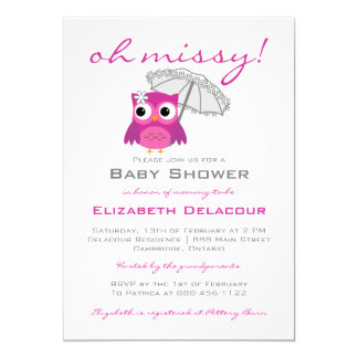 Cute Owl with Parasol Baby Shower Invitation