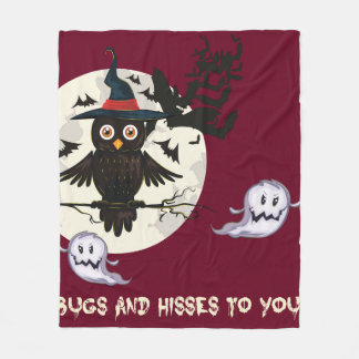 Cute owl with witches hat, ghosts bats Halloween Fleece Blanket