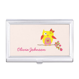 Cute Owl Yellow Pink Flowers Personalized Business Card Holders
