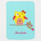 Cute Owl Yellow Pink Illustration Customizable Baby Blanket