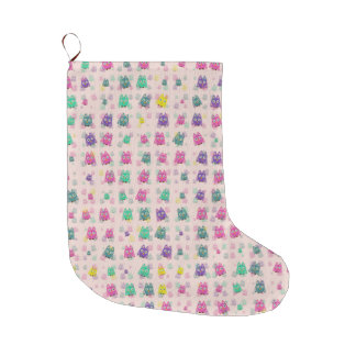 cute owls allover B Large Christmas Stocking