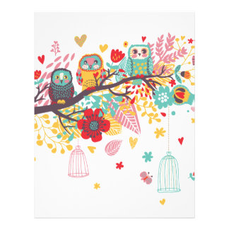 Cute Owls and colourful floral image background Personalized Letterhead