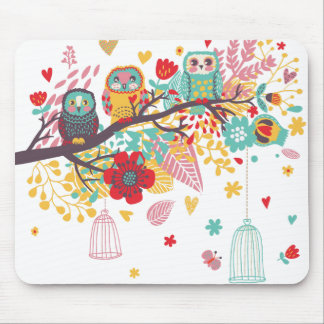 Cute Owls and colourful floral image background Mouse Pad