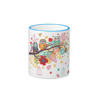 Cute Owls and colourful floral image background Coffee Mugs