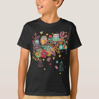 Cute Owls and colourful floral image background Shirt