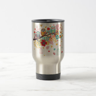 Cute Owls and colourful floral image background Travel Mug