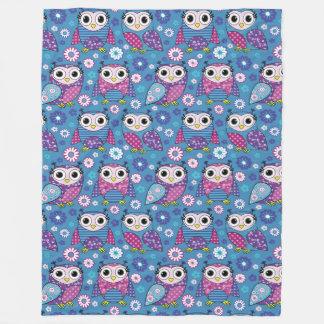 Cute Owls And Flowers Fleece Blanket