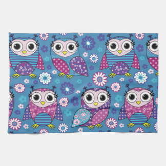 Cute Owls And Flowers Kitchen Towel