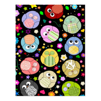 Cute Owls and Flowers pattern - black Postcards