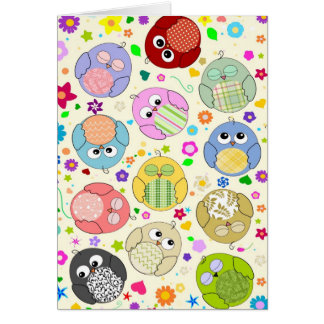 Cute Owls and Flowers pattern - cream Cards