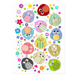 Cute Owls and Flowers pattern Post Card