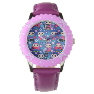 Cute Owls And Flowers Wristwatches