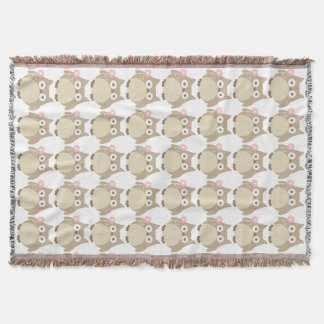 Cute Owls and Pink Flowers Pattern Throw Blanket