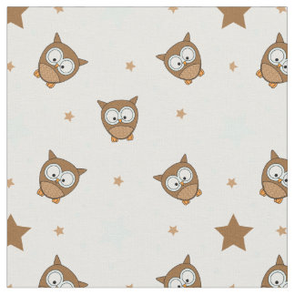 Cute Owls and Stars Fabric