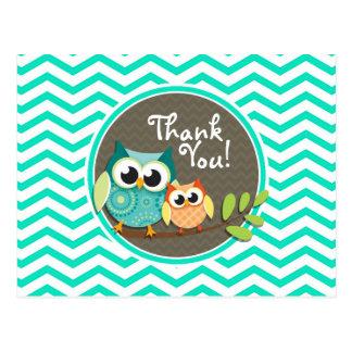 Cute Owls Aqua Green Chevron Postcards